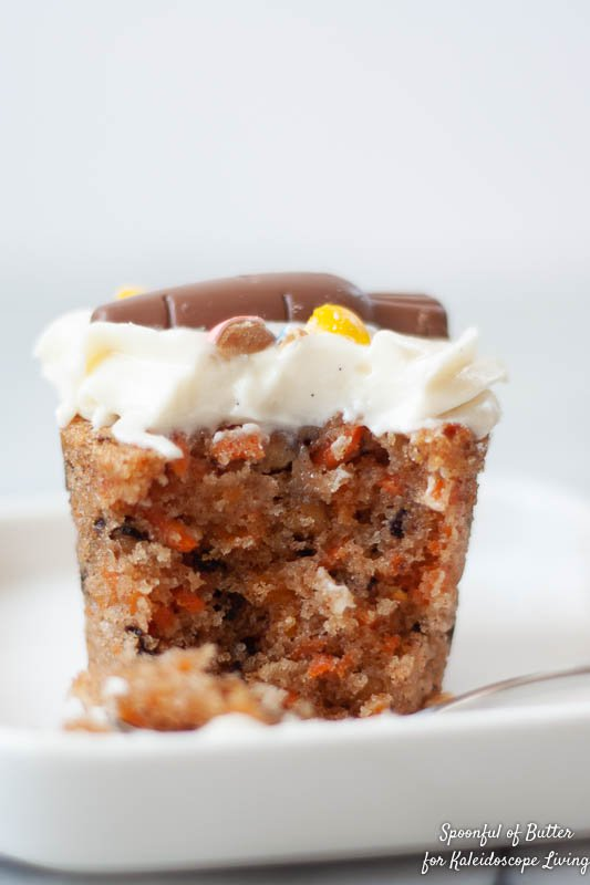 carrot cake cupcake with bite out