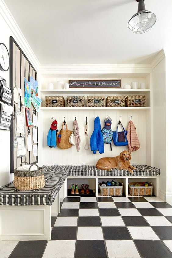 black and white industrial mudroom
