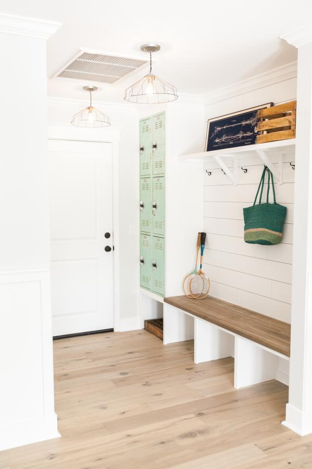 mudroom with plan wall and lockers